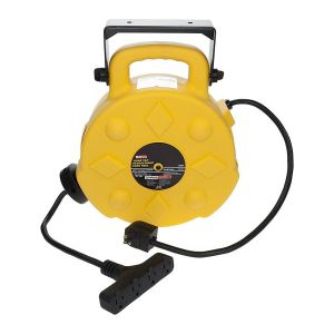 Bayco 50 ft. Retractable Polymer Cord Reel w/ 4 Outlets - 15 Amp