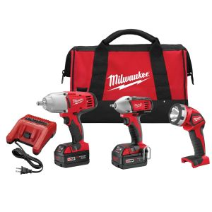 Milwaukee M18 Impact Wrench and Flashlight 3-Piece Kit