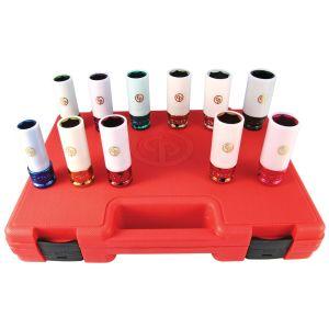 "11-Piece 1/2"" Drive Metric and SAE Wheel Nut Protector Impact Socket Set"