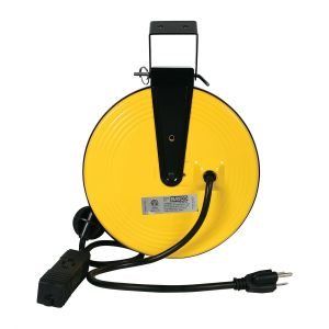 Bayco 30 ft. Retractable Metal Cord Reel with 3 Outlets - 10 Amp