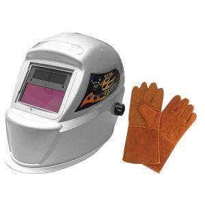 Deluxe Solar Auto-Darkening Welding Helmet with Free Pair of Gloves