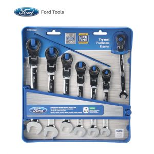 Ford Tools Flexible Geared Wrench 7-Piece Set, Metric