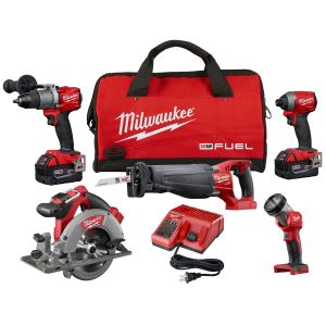 Milwaukee M18 FUEL 5-Piece Combo SAWZALL/ Circular Saw/ Hammer Drill/ Hex Impact/ Light with (2) XC Batteries Kit