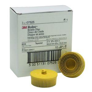 "2"" Scotch-Brite Roloc Bristle Discs 80 Grit Medium Yellow"