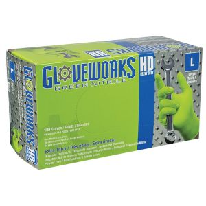 Gloveworks HD Green Nitrile Diamond Grip - XXL