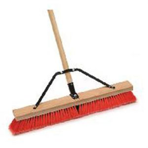 Indoor/Outdoor Push Broom, 24 in. Wide Block, with 3 in. Semi-Stiff Inner Synthetic Bristles, 60 in. Handle