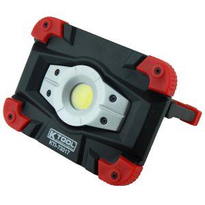 K-Tool International (KTI73317) 10W 1000 Lumens Heavy Duty Rechargeable Floodlight - Adjustable Light - Magnetic Light - Aluminum Die Cast Body