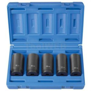 "5-Piece 1/2"" Drive 6 Point Spindle Nut Socket Set"