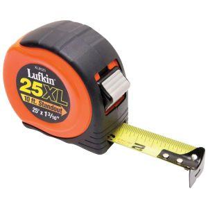 "1-3/16"" X 25' Power Return Tape Measure, Orange Case, Cushion Grip"